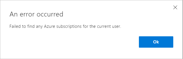 Failed to find any Azure subscription for current user