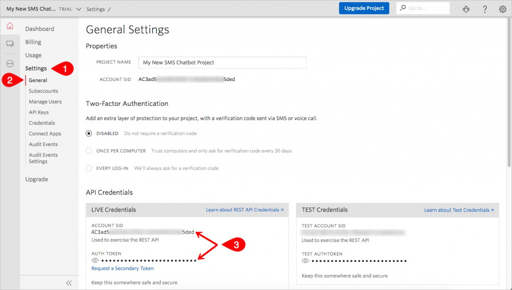 Twilio General Settings