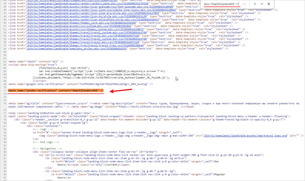 Метатег в исходном коде страницы
